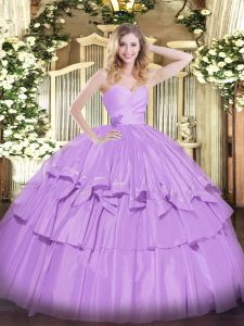Sweet Sleeveless Floor Length Beading and Ruffled Layers Lace Up Quince Ball Gowns with Lavender