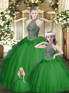 Best Selling Floor Length Lace Up Quinceanera Dress Green for Military Ball and Sweet 16 and Quinceanera with Beading and Ruffles