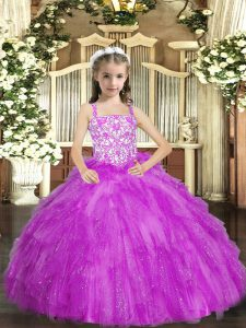 Lilac Ball Gowns Beading and Ruffles Little Girl Pageant Dress Lace Up Organza Sleeveless Floor Length