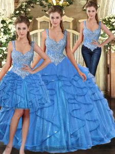 Straps Sleeveless Lace Up Quinceanera Gowns Baby Blue Tulle