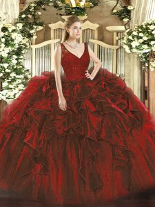 Sophisticated Wine Red Ball Gowns Organza V-neck Sleeveless Beading and Ruffles Floor Length Zipper Sweet 16 Quinceanera Dress