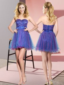 Empire Vestidos de Damas Multi-color Sweetheart Tulle Sleeveless Mini Length Lace Up