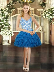 Beauteous Blue Ball Gowns Straps Sleeveless Organza Mini Length Lace Up Beading and Ruffles