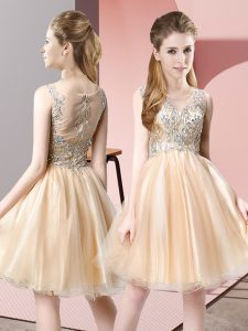 Champagne Zipper Prom Party Dress Beading Sleeveless Knee Length