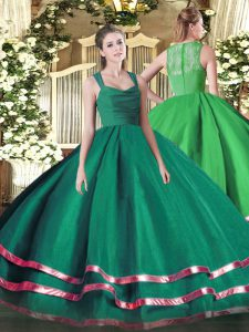 Sexy Floor Length Zipper Quinceanera Gown Dark Green for Military Ball and Sweet 16 and Quinceanera with Ruffled Layers and Ruching