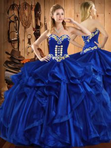 Floor Length Lace Up Quinceanera Dress Royal Blue for Military Ball and Sweet 16 and Quinceanera with Embroidery and Ruffles