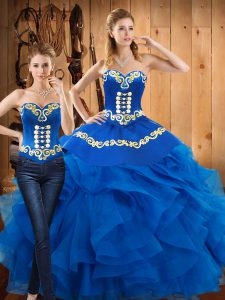 Floor Length Blue Quinceanera Dress Sweetheart Sleeveless Lace Up