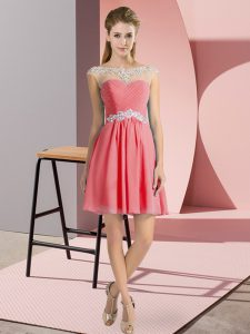 Mini Length Watermelon Red Prom Dress Scoop Cap Sleeves Lace Up