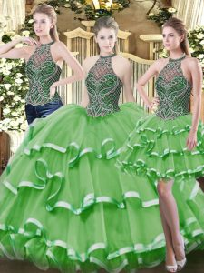 Lovely Organza High-neck Sleeveless Lace Up Beading and Ruffled Layers Quinceanera Dresses in Green