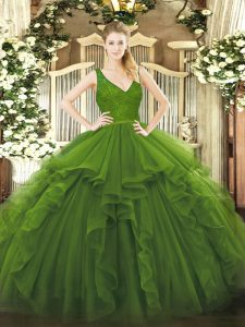 Low Price Olive Green Backless V-neck Beading and Lace and Ruffles Quinceanera Gowns Organza Sleeveless