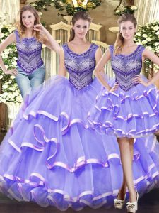 Sleeveless Floor Length Beading and Ruffled Layers Lace Up Sweet 16 Quinceanera Dress with Lavender