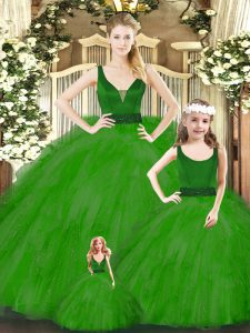 Beading and Ruffles Quinceanera Gown Green Zipper Sleeveless Floor Length