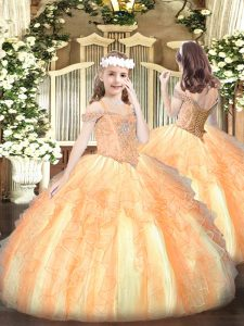 Orange Sleeveless Floor Length Beading and Ruffles Lace Up Pageant Dress for Womens