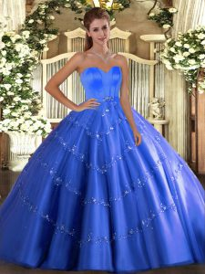 Blue Sweetheart Lace Up Beading and Appliques 15 Quinceanera Dress Sleeveless