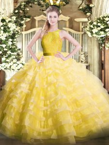 Dynamic Sleeveless Ruffled Layers Zipper Quinceanera Gown