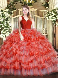 Custom Made V-neck Sleeveless Zipper 15 Quinceanera Dress Coral Red Organza