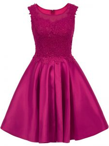 Fuchsia Scoop Zipper Lace Wedding Guest Dresses Sleeveless