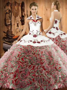 Embroidery Quinceanera Gown Multi-color Lace Up Sleeveless Sweep Train