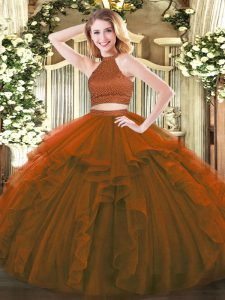 Sweet Beading and Ruffles Sweet 16 Quinceanera Dress Brown Backless Sleeveless Floor Length
