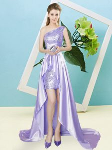 Flirting Lavender Empire Sequins Prom Party Dress Lace Up Elastic Woven Satin and Sequined Sleeveless High Low