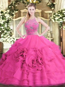 Fantastic Sleeveless Beading and Ruffled Layers Zipper Quinceanera Gown