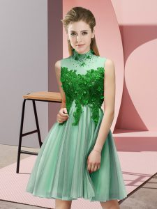 High-neck Sleeveless Tulle Dama Dress Appliques Lace Up