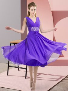 Trendy Lavender Sleeveless Beading Knee Length Dama Dress for Quinceanera