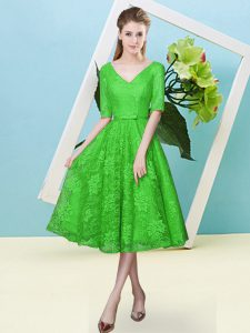 Green Lace Lace Up V-neck Half Sleeves Tea Length Quinceanera Court Dresses Bowknot