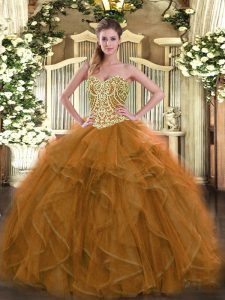 Fantastic Brown Sleeveless Beading Floor Length Quince Ball Gowns