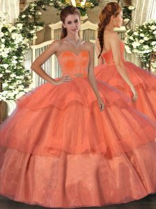 Floor Length Orange Red Sweet 16 Quinceanera Dress Organza Sleeveless Beading and Ruffled Layers