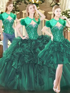 Dark Green Sleeveless Floor Length Beading and Ruffles Lace Up 15 Quinceanera Dress