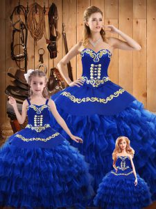 Sleeveless Satin and Organza Floor Length Lace Up Sweet 16 Dresses in Blue with Embroidery and Ruffled Layers
