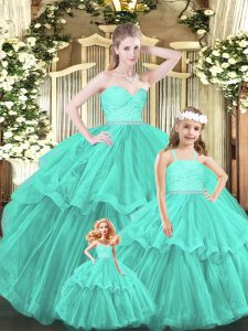 Excellent Aqua Blue Organza Lace Up Sweetheart Sleeveless Floor Length Quinceanera Dress Lace and Ruffled Layers