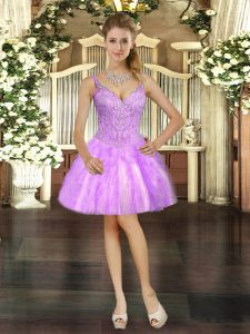 Mini Length Lace Up Dress for Prom Lilac for Prom and Party with Beading and Ruffles