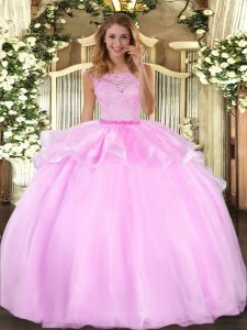 Lilac Organza Clasp Handle Quince Ball Gowns Sleeveless Floor Length Lace