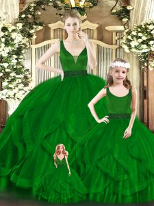 Attractive Green Ball Gowns Organza V-neck Sleeveless Beading and Ruffles Floor Length Zipper Sweet 16 Quinceanera Dress