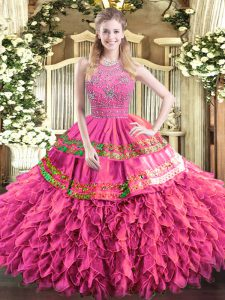 Low Price Beading and Ruffles and Sequins Sweet 16 Dress Hot Pink Zipper Sleeveless Floor Length