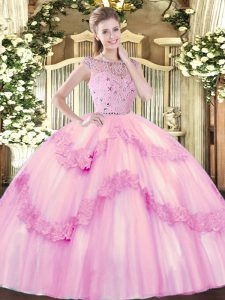 Romantic Floor Length Rose Pink Sweet 16 Quinceanera Dress Bateau Sleeveless Zipper