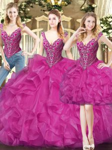 Fuchsia V-neck Lace Up Beading and Ruffles Ball Gown Prom Dress Sleeveless