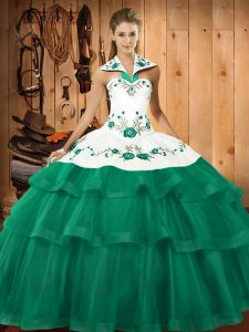 Pretty Turquoise Ball Gowns Halter Top Sleeveless Organza Sweep Train Lace Up Embroidery and Ruffled Layers Sweet 16 Dresses