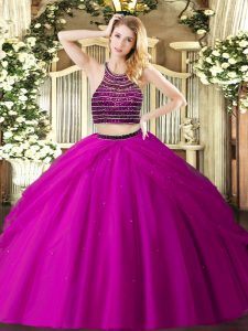 Traditional Fuchsia Zipper Ball Gown Prom Dress Beading and Ruching Sleeveless Floor Length