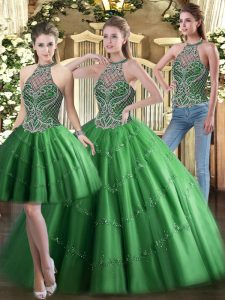 Custom Design Sleeveless Tulle Floor Length Lace Up 15 Quinceanera Dress in Green with Beading