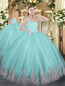 Custom Made Aqua Blue Ball Gowns Appliques 15 Quinceanera Dress Zipper Tulle Sleeveless Floor Length