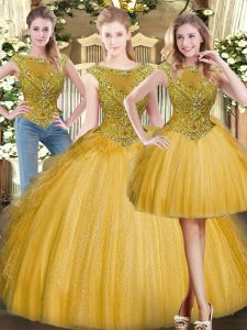 Flirting Scoop Sleeveless Sweet 16 Quinceanera Dress Floor Length Beading and Ruffles Gold Tulle