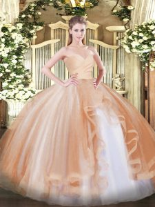Wonderful Champagne Ball Gowns Tulle Sweetheart Sleeveless Ruffles Floor Length Lace Up 15 Quinceanera Dress