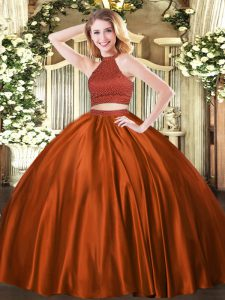 Rust Red Quince Ball Gowns Military Ball and Sweet 16 and Quinceanera with Beading Halter Top Sleeveless Backless