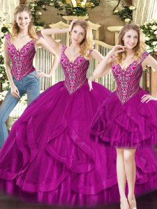 Comfortable V-neck Sleeveless Quinceanera Dresses Floor Length Beading and Ruffles Fuchsia Organza