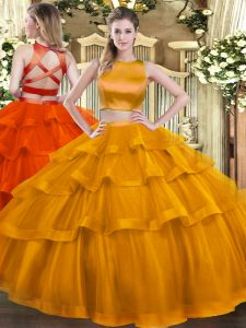 Delicate Rust Red Two Pieces Tulle High-neck Sleeveless Ruffled Layers Floor Length Criss Cross 15 Quinceanera Dress