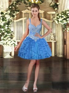 Sexy Straps Sleeveless Evening Dress Mini Length Beading and Ruffles Baby Blue Tulle