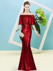 Eye-catching Off The Shoulder Half Sleeves Zipper Prom Gown Wine Red Sequined